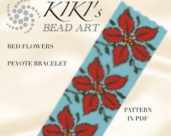 Pattern, peyote bracelet - Red flowers peyote bracelet pattern in PDF instant download