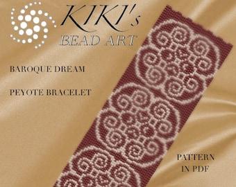 Peyote Pattern for bracelet - Baroque dream peyote bracelet pattern in PDF instant download