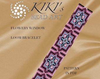 Bead loom pattern - Flowery window LOOM bracelet pattern in PDF - instant download