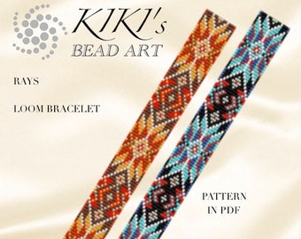 LOOM bracelet pattern- Bead loom pattern in PDF, Rays geometric colorful bracelet pattern, instant download