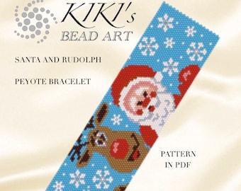 Peyote pattern for bracelet - Santa and Rudolph Christmas patterned peyote bracelet cuff PDF pattern - instant download