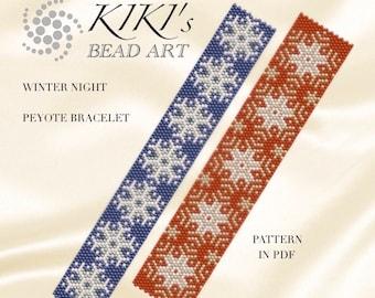 Peyote Pattern for bracelet - Winter night peyote pattern for bracelet in PDF - two versions - instant download