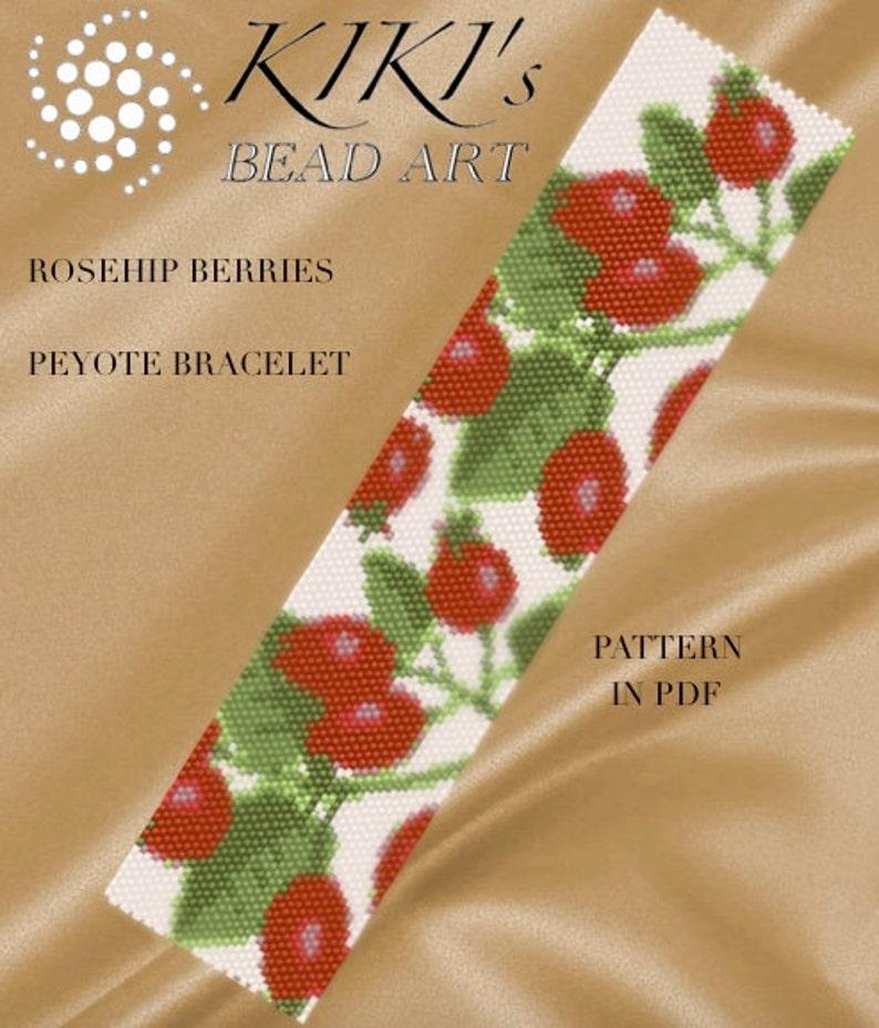 Pattern peyote bracelet  Rosehip berries peyote bracelet image 1