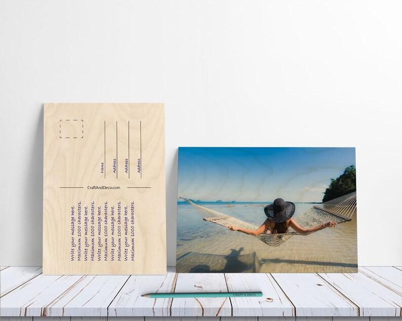Carte postale en bois personnalisée Carte postale   Etsy
