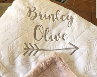 Personalized Baby blanket-Personalized White gray Minky crib blanket-Arrow baby blanket-Baby blanket Girl-Personalized Baby Blanket Boy Girl