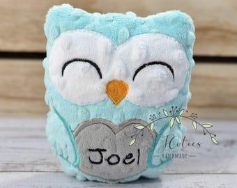 Personalized Owl Stuffed Animal Owl-Personalized Stuffed Owl-Plush Owl-Aqua-Turquoise-Gray-Cuddly Owl-Owl Stuffed Toy-Owl Nursery