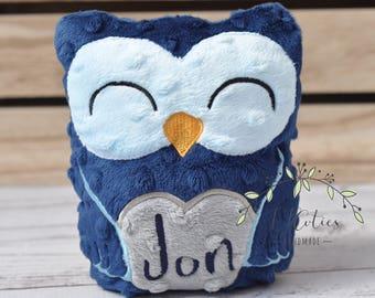 Personalized Stuffed Animal Owl-Personalized Stuffed Owl-Plush Owl-navy blue Cuddly Owl-Soft Gift for Kids-Owl Stuffed Toy-Owl Nursery
