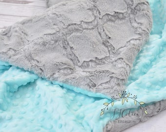 Personalized Baby girl blanket-Personalized Mint and gray crib blanket-Mint gray baby blanket-gray minky blanket-Mint gray blanket minky