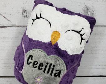 Personalized Owl Stuffed Animal Owl-Personalized Stuffed Owl-Plush Owl-Purple-Amethyst-Gray-Cuddly Owl-Owl Stuffed Toy-Owl Nursery