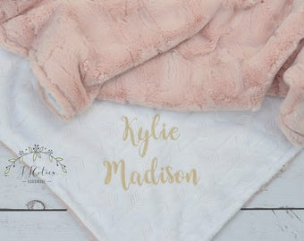Personalized Minky Baby Blanket Personalized-Baby Girl Blanket-Personalized Baby blanket Girl-White Arrow blanket-White Pink minky blanket