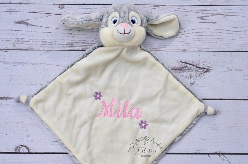Personalized Lovey Minky Blanket Teddy Bear-Stuffed Animal-Bear Personalized security blanket-Birth Stats Annoucement Bunny-Cubbies Blanket