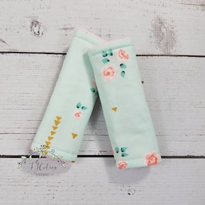 Stroller seat strap Reversible Baby car seat strap woodland fabric with minky dot