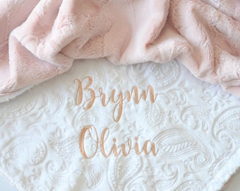 Rose Gold Personalized Minky Baby Blanket - Baby Girl Blanket - Personalized Baby blanket - White Arrow blanket - Monogram Blanket - Newborn