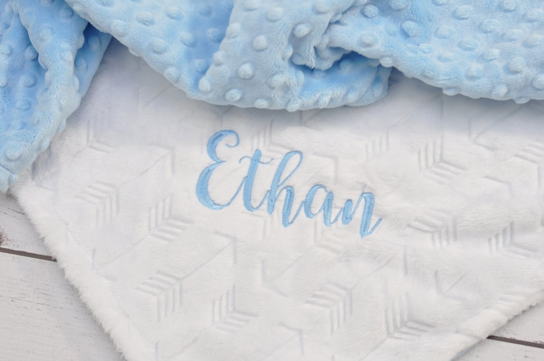 Personalized Baby blanket-Personalized White Blue Minky crib blanket-Arrow baby blanket-Baby blanket Girl-Personalized Baby Girl Boy Blanket