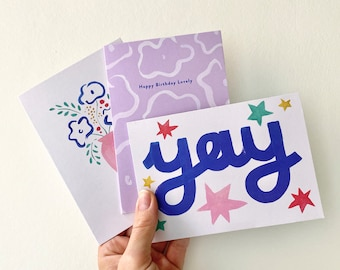 Pack of 3 cards | Birthday Cards | Mixed Cards | Multipack fun illustrated cards | Congratulations cards | Colourful Cards