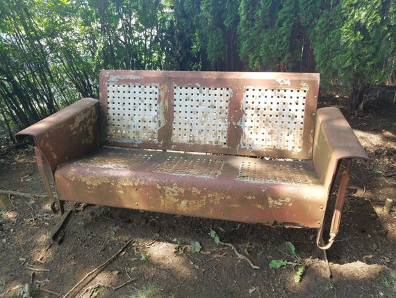 Vintage Industrial Metal Outdoor Glider Swing Bench Etsy