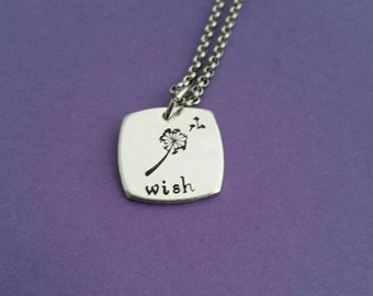 Wish dandelion and fluff necklace hand stamped aluminium pendant make a wish wishing