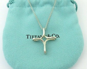 0172beac0 Authentic TIFFANY & CO Sterling Silver Infinity Cross Pendant Necklace