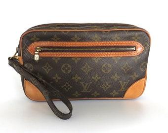 23952afcbead Authentic LOUIS VUITTON Monogram Canvas Leather Marly Dragonne GM Clutch Bag
