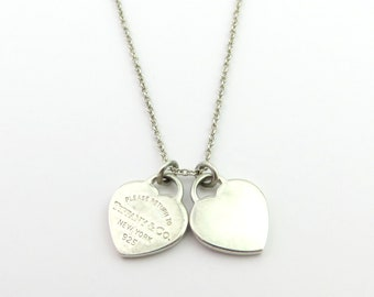 66a3905916 Authentic TIFFANY & CO Silver Return to Tiffany Mini Double Heart Tag  Necklace