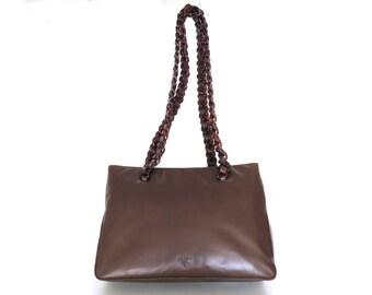 3bfbc49b4bfe Authentic PRADA Dark Brown Leather Plastic Chain Shoulder Bag Purse