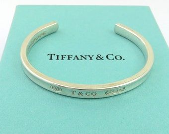 ba034872c6113 Authentic TIFFANY   CO Sterling Silver 1837 Cuff Bangle Bracelet