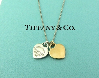 28a8f72ec47e Authentic TIFFANY CO Silver 18K Pink Gold Return to Tiffany Double Heart  Necklace