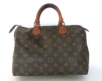 24cb19d6cdd Authentic LOUIS VUITTON Monogram Canvas Leather Speedy 30 Handbag Bag Purse