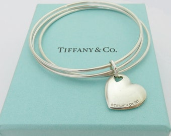 Authentic TIFFANY & CO Sterling Silver Heart Triple Bangle Bracelet