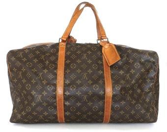 Authentic LOUIS VUITTON Monogram Canvas Leather Sac Souple 55 Boston Travel Bag