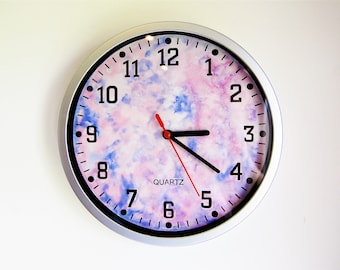 ORIGINAL Hand Painted Clock, Watercolour Galaxy
