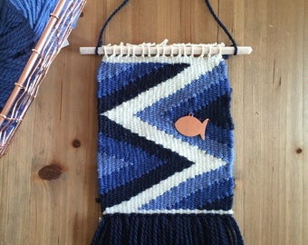 Woven wall hanging ' Fish 'Blue'