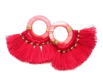 Punched earrings, tassel earrings, disco earrings, red earrings, death dresses fashion,