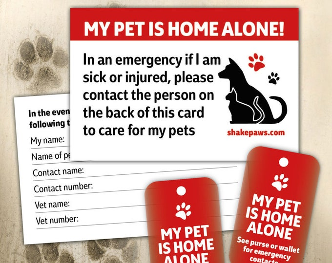 Home Alone Pet Safety Card and Fob Key Ring Set, keyring fob by Shake Paws, birthday gifts, Mother's Day, dog lovers