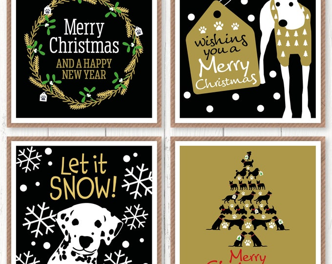 Exclusive four pack of Christmas cards, new for 2020, dog lovers cards