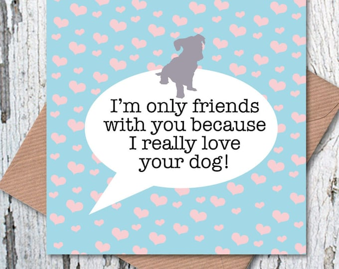 I'm only friends with you because I really love you dog greetings card, dog lovers, Valentine's Day, dog mum, dog dad