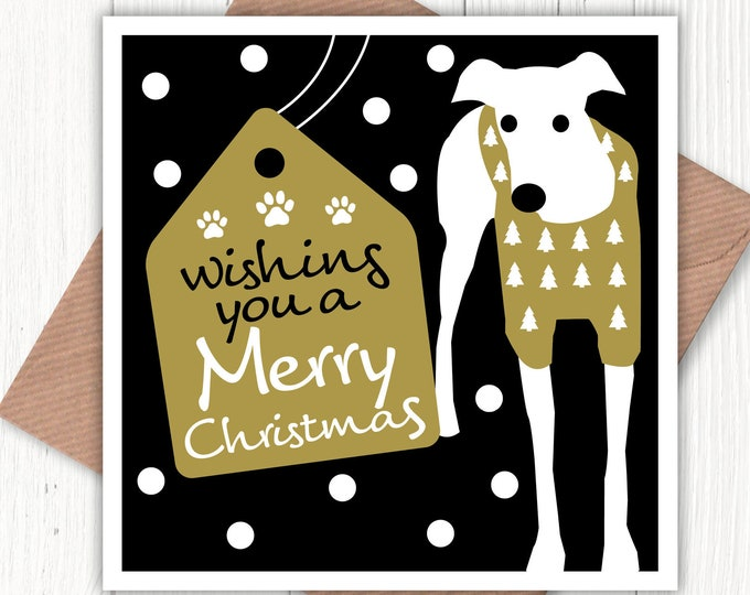 Wishing you a Merry Christmas card, lurcher card, greyhound card, sighthound card, whippet card, dotty card, dog lovers card