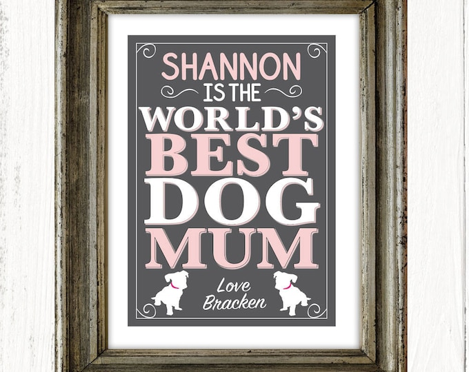 Personalised World's Best Dog Mum art print, dog lovers, Mother's Day gifts, birthdays