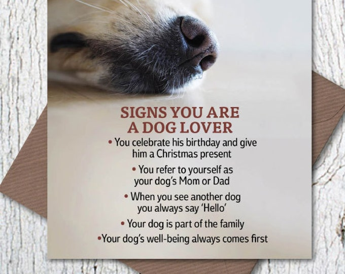 Signs You Are a Dog Lover greetings card