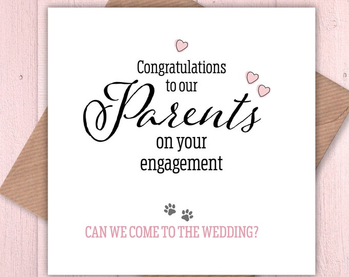 Congratulations to our Parents on their engagement, from the dogs, from the cats