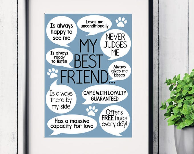 Father's Day gift, Reasons my dog is my best friend art print, dog owner gifts, dog art print, funny dog sayings, crazy dog lady print