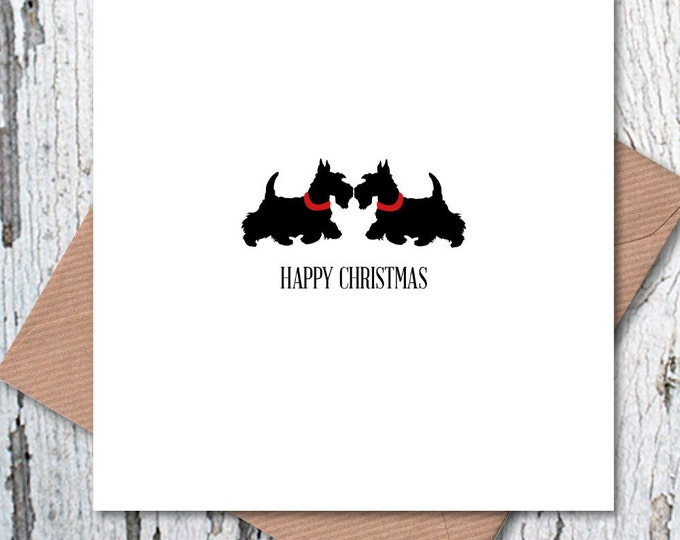 Scottie Dogs Christmas Greetings Card, Westies Christmas, dog lovers