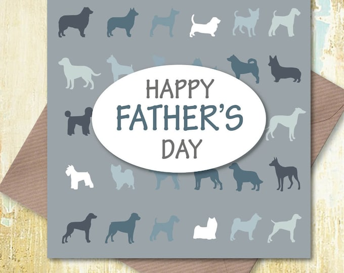 Happy Father's Day Card – Various Dog Breeds for the World's Best Dog Dad, dog dad card