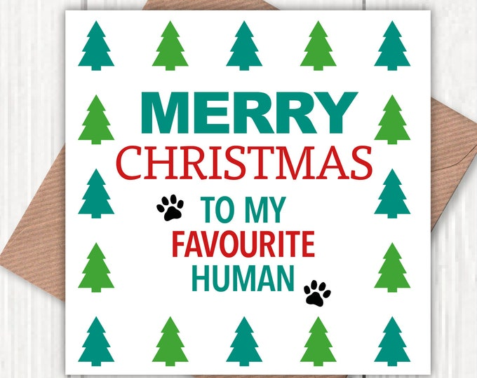 Merry Christmas to my Favourite Human greetings card, Christmas card, dog lovers, pet lovers