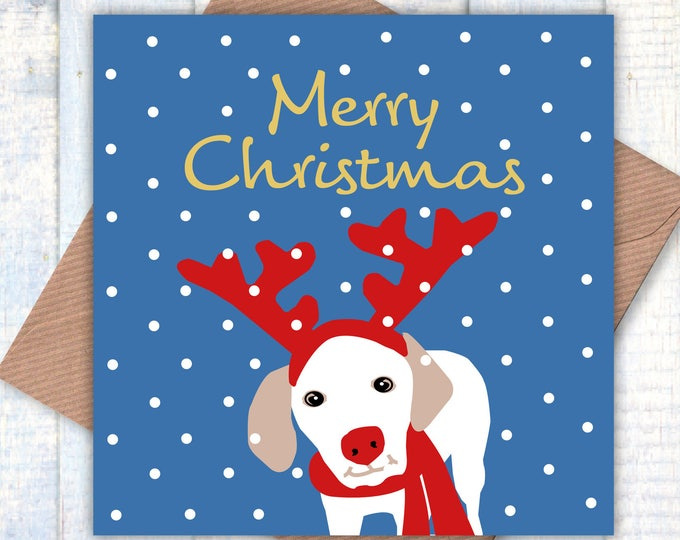 Merry Christmas Reindog card, dog lovers cards