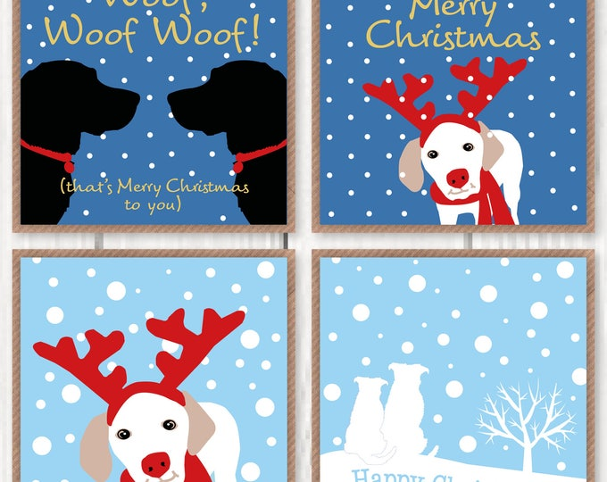 Christmas cards for dog lovers, pack of four unique designs