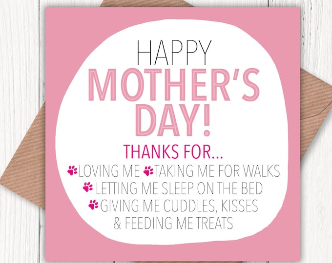 Happy Mother's Day from the Dog card, dog lovers, dog mum, dog mom