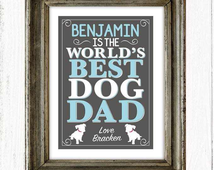 Personalised World's Best Dog Dad art print, birthday gifts, Father's Day gifts, dog lover gifts