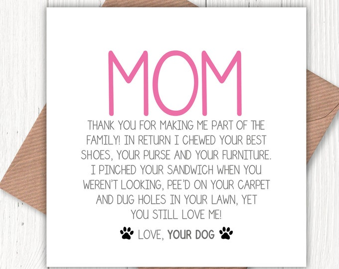 Funny Mom greetings card, mom birthday, mom Christmas