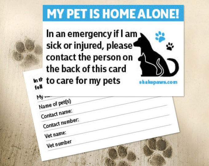 Shake Paws' Home Alone Pet Safety Card, Christmas gifts, ICE